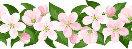 Horizontal seamless background with blossoms. Royalty Free Stock Image