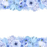 Horizontal seamless background with blue flowers. Vector illustration. Royalty Free Stock Photos