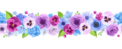 Horizontal seamless background with blue and purple flowers. Vector illustration. Stock Photos