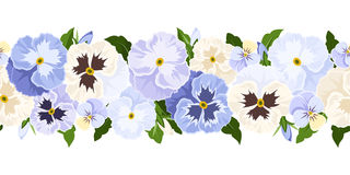 Horizontal seamless background with blue and white pansy flowers. Vector illustration. Stock Images