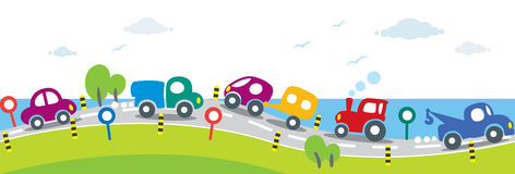 Horizontal seamless background of Cars on the road Stock Photo