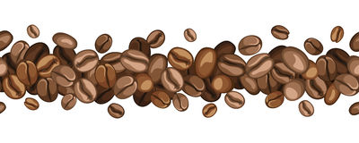 Horizontal seamless background with coffee beans.  Royalty Free Stock Photos