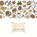 Horizontal seamless background with colored nuts and seeds Stock Image
