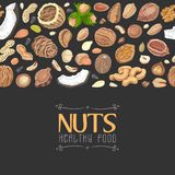 Horizontal seamless background with colored nuts and seeds Stock Images