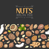Horizontal seamless background with colored nuts and seeds Royalty Free Stock Photo
