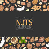 Horizontal seamless background with colored nuts and seeds Royalty Free Stock Image