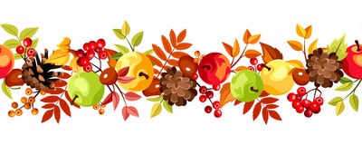 Horizontal seamless background with colorful autumn leaves, apples and cones. Vector illustration. Stock Photos