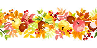 Horizontal seamless background with colorful autumn leaves. Vector illustration. Stock Image