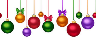 Horizontal seamless background with colorful Christmas balls. Vector illustration. Stock Photos