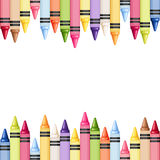 Horizontal seamless background with colorful crayons. Vector illustration. Stock Image
