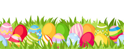 Horizontal seamless background with colorful Easter eggs. Vector illustration. Vector horizontal seamless background with colorful Easter eggs and green grass Stock Photo