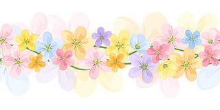 Horizontal seamless background with colorful flowe Royalty Free Stock Photos