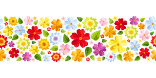 Horizontal seamless background with colorful flowe. Vector horizontal seamless background with bright colorful flowers and leaves Royalty Free Stock Photo