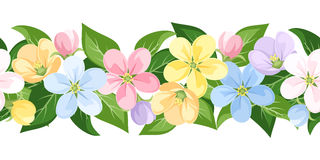 Horizontal seamless background with colorful flowe Stock Image