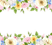Horizontal seamless background with colorful flowers. Vector illustration. Stock Image