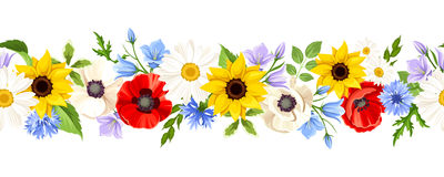 Horizontal seamless background with colorful flowers. Vector illustration. Royalty Free Stock Photos