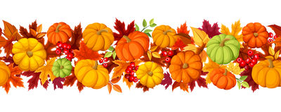 Horizontal seamless background with colorful pumpkins and autumn leaves. Vector illustration. royalty free illustration