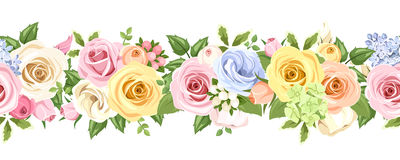Horizontal seamless background with colorful roses and lisianthus flowers. Vector illustration. vector illustration