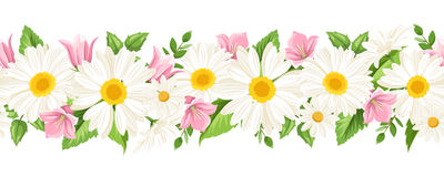 Horizontal seamless background with daisies and harebell flowers. Vector illustration. Stock Image