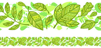 Horizontal seamless background with green leaves Stock Photography