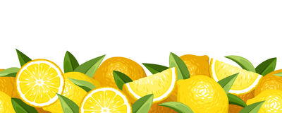 Horizontal seamless background with lemons. Stock Image