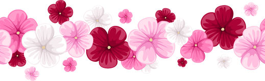 Horizontal seamless background with mallow flowers. Horizontal seamless background with red, pink and white mallow flowers Stock Images