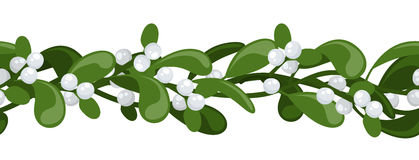 Horizontal seamless background with mistletoe. Royalty Free Stock Photography