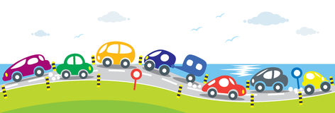 Horizontal Seamless Background Of Cars On The Road Royalty Free Stock Photography