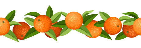 vector horizontal seamless background with oranges Stock Images