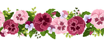 Horizontal seamless background with pansy flowers. Stock Images