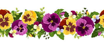 Horizontal seamless background with pansy flowers. Royalty Free Stock Image