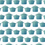 Horizontal seamless background with a pattern of pots in a cartoon style. Royalty Free Stock Image