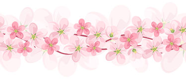 Vector horizontal seamless background with flowers. Vector illustration of horizontal seamless background with pink flowers on white stock illustration