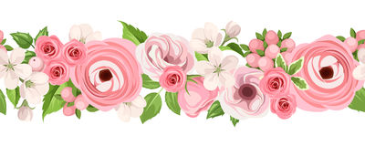 Horizontal seamless background with pink flowers. Vector illustration. royalty free illustration