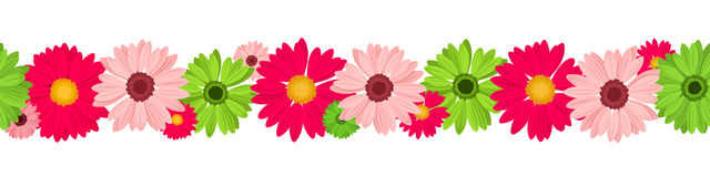 Horizontal seamless background with pink and green gerbera flowers. Vector illustration. Royalty Free Stock Image