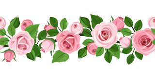 Horizontal seamless background with pink roses. Stock Photos