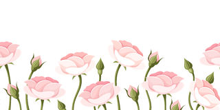 Horizontal seamless background with pink roses. Vector illustration. Vector horizontal seamless background with pink roses on a white background Stock Photos