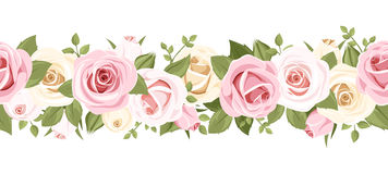 Horizontal seamless background with pink roses. Vector illustration. Vector horizontal seamless background with pink and white roses on a white background Stock Image