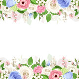 Horizontal seamless background with pink, white and blue flowers. Vector illustration. Stock Images