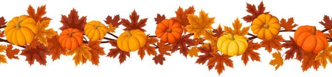 Horizontal seamless background with pumpkins. Stock Photo
