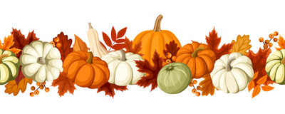 Horizontal seamless background with pumpkins and autumn leaves. Vector illustration. stock illustration
