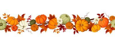 Horizontal seamless background with pumpkins and autumn leaves. Vector illustration. royalty free illustration