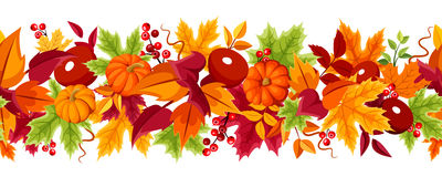 Horizontal seamless background with pumpkins and colorful autumn leaves. Vector illustration. Stock Photo