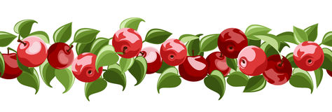 Horizontal seamless background with red apples. And green leaves on a white background Royalty Free Stock Images