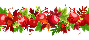 Horizontal seamless background with red apples and colorful autumn leaves.  Stock Photo