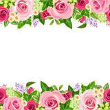 Horizontal seamless background with red and pink roses. Vector illustration. Vector horizontal seamless background with red and pink roses and green leaves Royalty Free Stock Photos