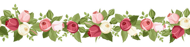 Horizontal seamless background with red, pink and white rose buds. Vector illustration. Royalty Free Stock Images