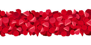 Horizontal seamless background with red rose petals. Vector illustration. Royalty Free Stock Photography