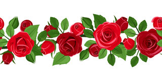 Horizontal seamless background with red roses. Horizontal seamless background with red roses, rose buds and leaves on white Royalty Free Stock Photo