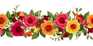 Horizontal seamless background with red and yellow roses and freesia. Vector illustration. stock illustration